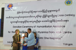 AHA Centre Handover Ceremony of relief items in Yangon, Myanmar