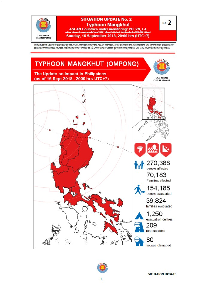 Situation Update No 2 Typhoon Mangkhut Ompong Aha Centre