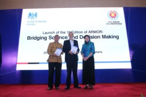 Deputy Secretary-General of ASEAN Community and Corporate Affairs, Dr. AKP Mochtan; the Ambassador of the United Kingdom to Indonesia and Timor Leste, Mr. Moazzam Malik, and the Executive Director of the AHA Centre, Ms. Adelina Kamal, officially launched ARMOR.