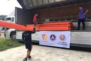 Relief items were being loaded to the trucks and ready to be transported to Bicol Region and Marinduque Province.